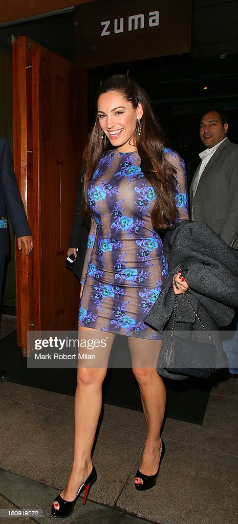 Kelly Brook leaving Zuma restaurant on September 17, 2013 in London, England.