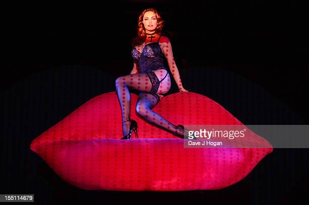 Kelly Brook performs during a dress rehearsal as she joins the cast of Crazy Horse for a week of shows at The Forever Crazy Spiegel Tent on October...