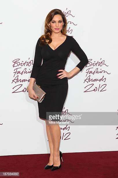 Kelly Brook poses in the awards room at the British Fashion Awards 2012 at The Savoy Hotel on November 27 2012 in London England