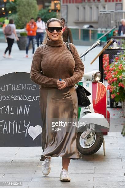 Kelly Brook seen arriving at Global Radio on September 10, 2020 in London, England.