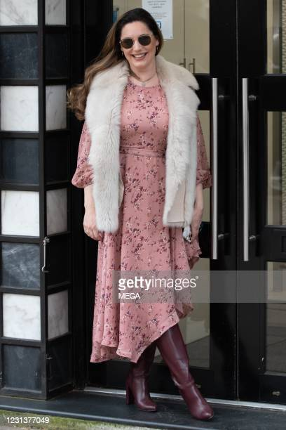 Kelly Brook seen arriving at Global Studios on February 25, 2021 in London, England.