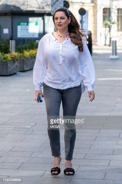 Kelly Brook seen arriving at Global Studios on March 29, 2021 in London, England.