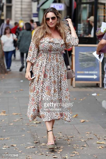 Kelly Brook seen arriving at Heart radio studios on September 02, 2019 in London, England.