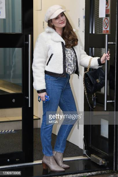 Kelly Brook seen arriving at the Global Radio Studios on February 4, 2021 in London, England.