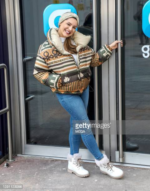 Kelly Brook seen arriving at the Global Studios on February 11, 2021 in London, England.