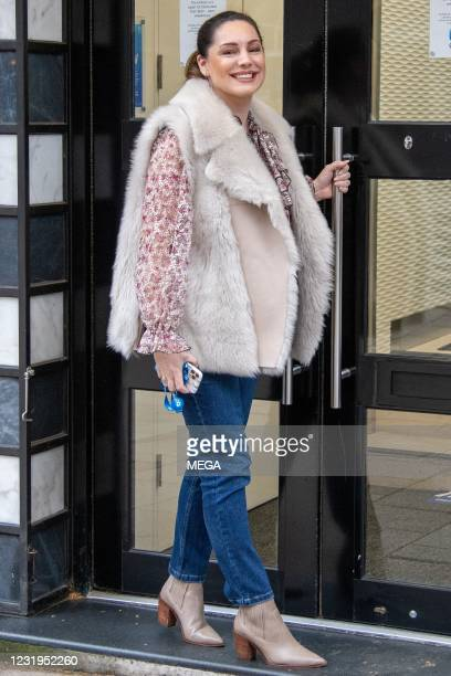 Kelly Brook seen arriving at the Global Studios on March 26, 2021 in London, England.