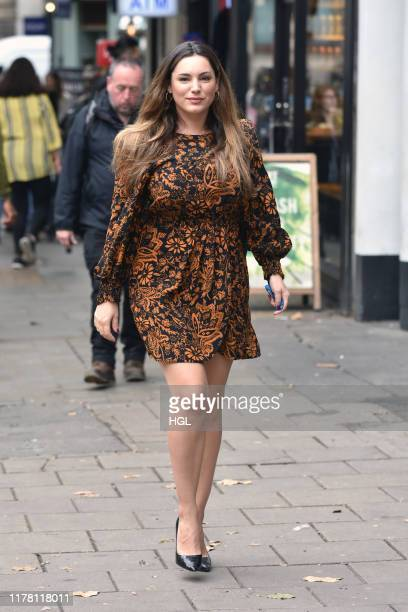 Kelly Brook seen arriving at the Heart Radio studios on September 30, 2019 in London, England.