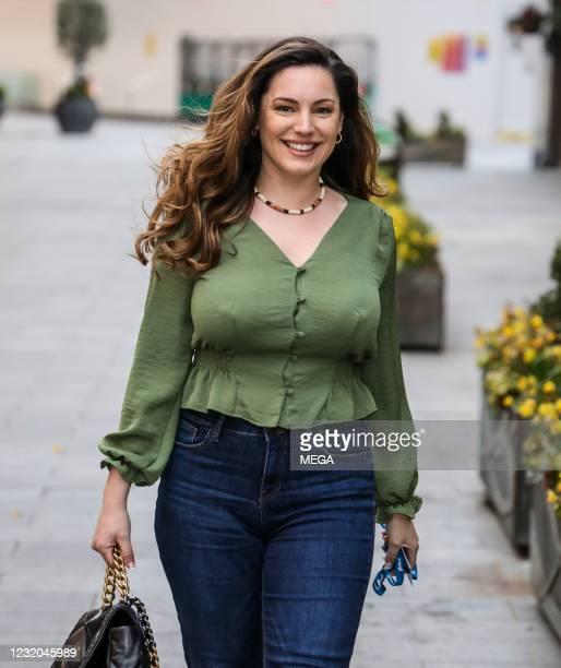 Kelly Brook seen departing Global Studios on March 31, 2021 in London, England.