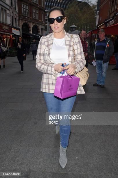 Kelly Brook seen leaving Global Radio studios on April 12 2019 in London England