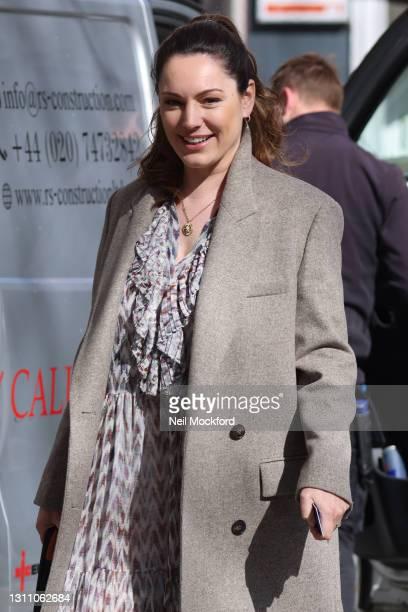 Kelly Brook seen leaving Heart Breakfast Radio Studios on April 06, 2021 in London, England.