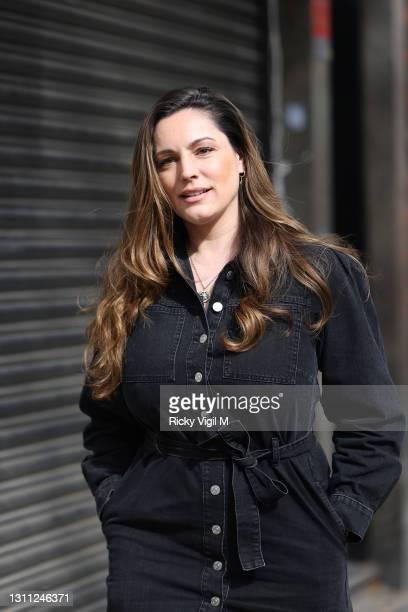 Kelly Brook seen leaving Heart Breakfast Radio Studios on April 07, 2021 in London, England.
