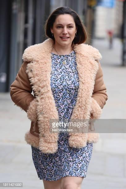 Kelly Brook seen leaving Heart Breakfast Radio Studios on April 08, 2021 in London, England.