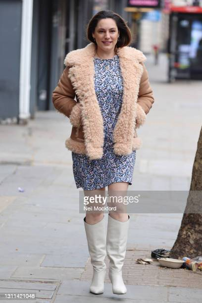 Kelly Brook seen leaving Heart Breakfast Radio Studios on April 08, 2021 in London, England.