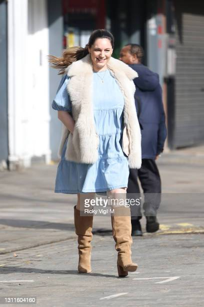 Kelly Brook seen leaving Heart Breakfast Radio Studios on April 09, 2021 in London, England.