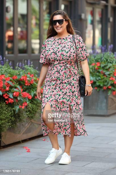 Kelly Brook seen leaving Heart Breakfast Radio Studios on August 11, 2020 in London, England.