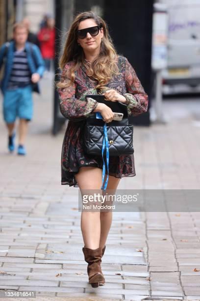 Kelly Brook seen leaving Heart Breakfast Radio Studios on August 17, 2021 in London, England.
