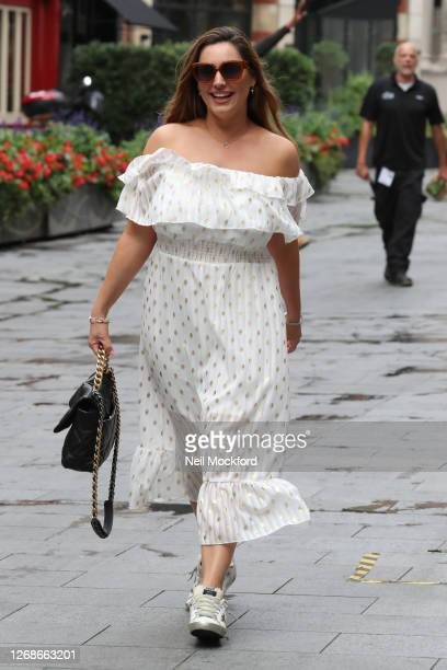 Kelly Brook seen leaving Heart Breakfast Radio Studios on August 26, 2020 in London, England.