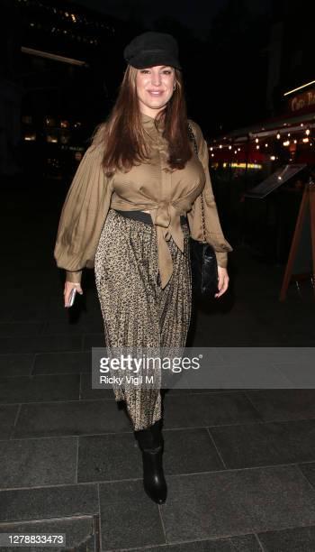 Kelly Brook seen leaving Heart FM on October 06, 2020 in London, England.