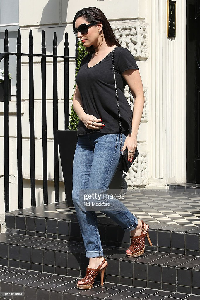 Kelly Brook seen leaving her home after news about her boyfriend Danny Cipriani is hit by a bus on April 25, 2013 in London, England.