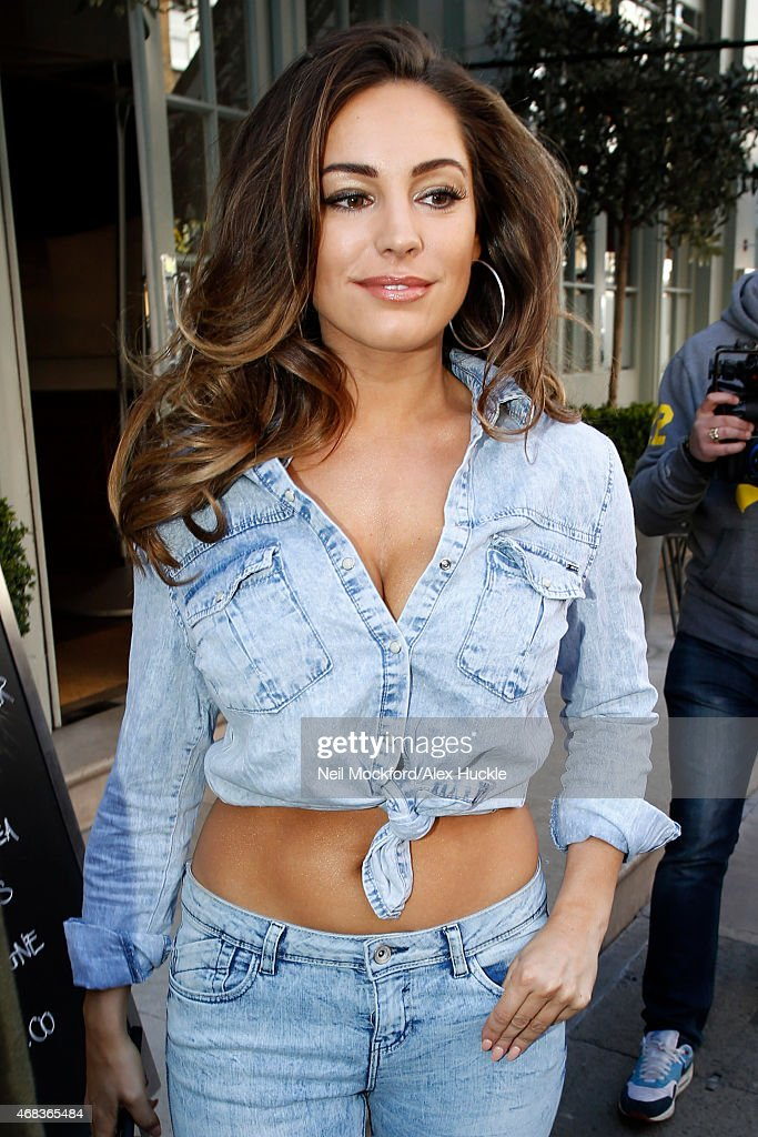 Kelly Brook seen leaving the Charlotte Street Hotel on April 2, 2015 in London, England.
