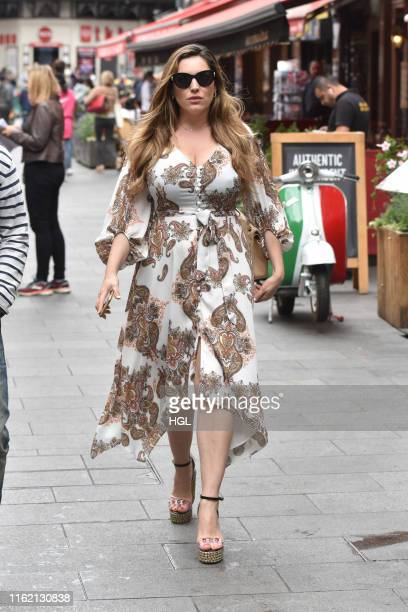Kelly Brook seen leaving the Global Studios on July 15, 2019 in London, England.