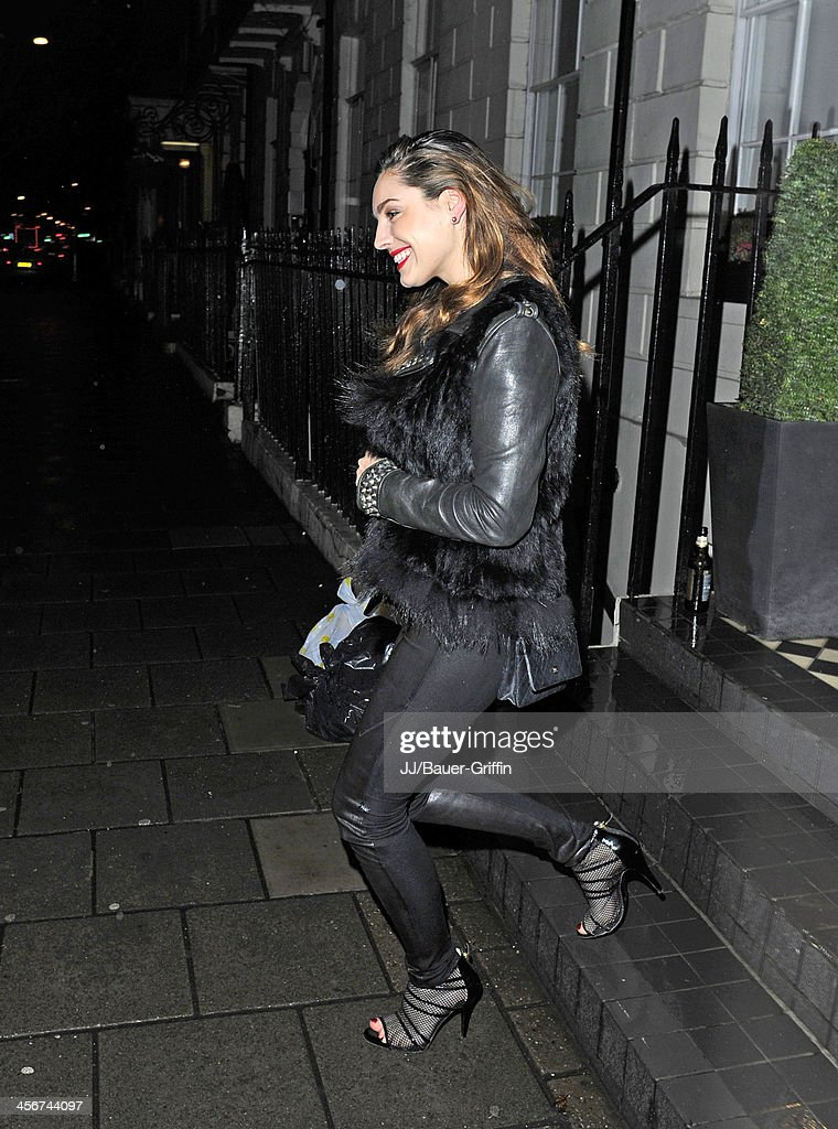 Kelly Brook seen out with friends on December 14, 2013 in London, United Kingdom.