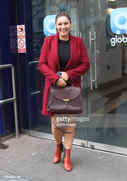 Kelly Brook seen showing off her slimmer figure as she arrives at Global Radio Leicester Square