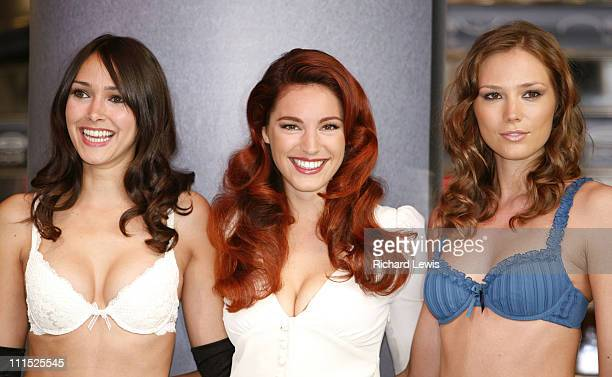 Kelly Brook with models during Kelly Brook Launches New Lingerie Range for New Look Photocall at New Look in London Great Britain