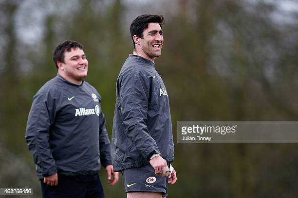 Kelly Brown of Saracens looks on during a training session at the Saracens Training Centre on April 1 2015 in St Albans England