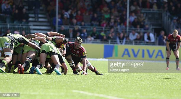 Kelly Brown of Saracens looks on during the Aviva Premiership match between Saracens and Northampton Saints at Allianz Park on April 13 2014 in...