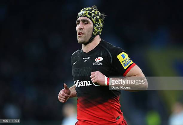 Kelly Brown of Saracens looks on during the Aviva Premiership match between Saracens and Worcester Warriors at Twickenham Stadium on November 28 2015...