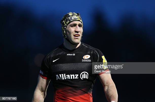 Kelly Brown of Saracens looks on during the Aviva Premiership match between Saracens and Bath at Allianz Park on January 30 2016 at Barnet England