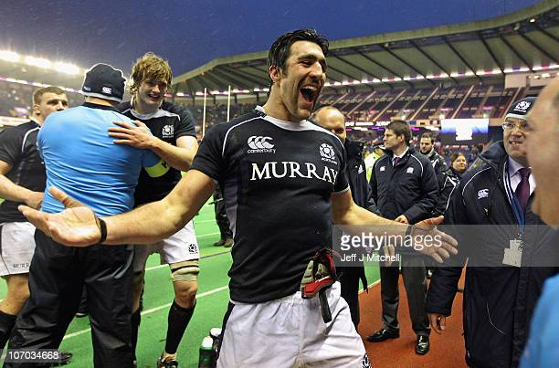 Kelly Brown of Scotland celebrates after beating South Africa in the international match between South Africa and Scotland at Murrayfield Stadium on...