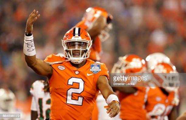 Kelly Bryant of the Clemson Tigers reacts after a touchdown against the Miami Hurricanes in the first quarter during the ACC Football Championship at...