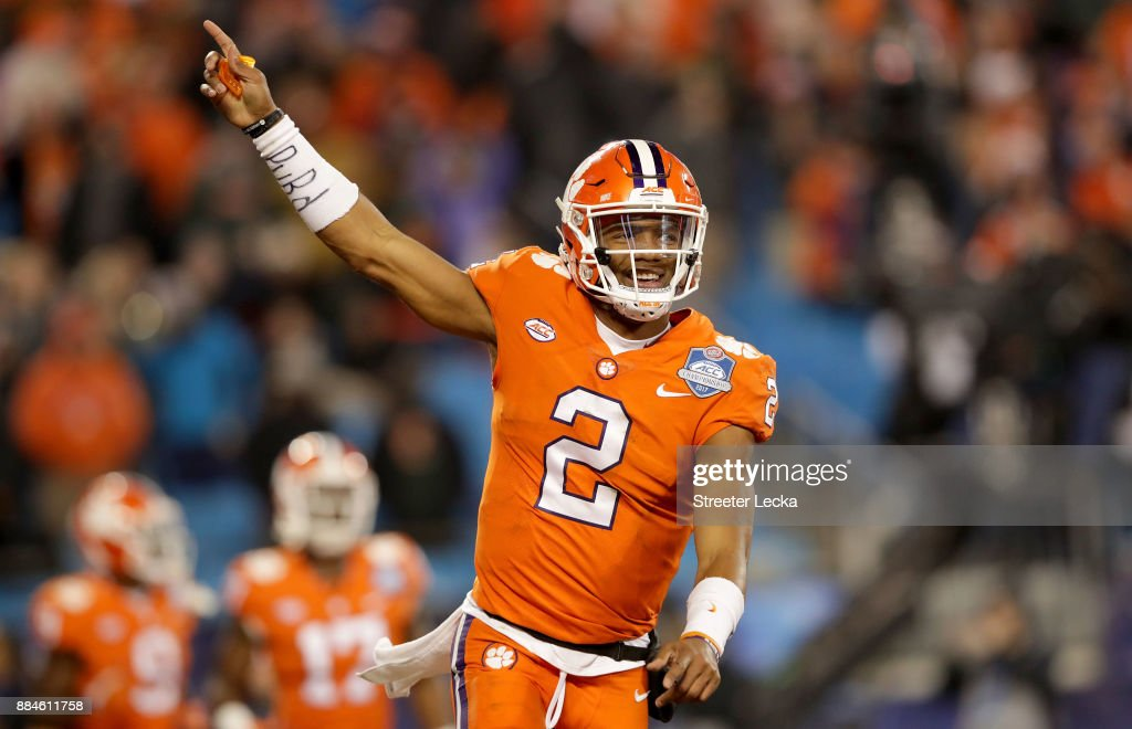 Kelly Bryant #2 of the Clemson Tigers reacts after a touchdown against the Miami Hurricanes in the third quarter during the ACC Football Championship at Bank of America Stadium on December 2, 2017 in Charlotte, North Carolina.