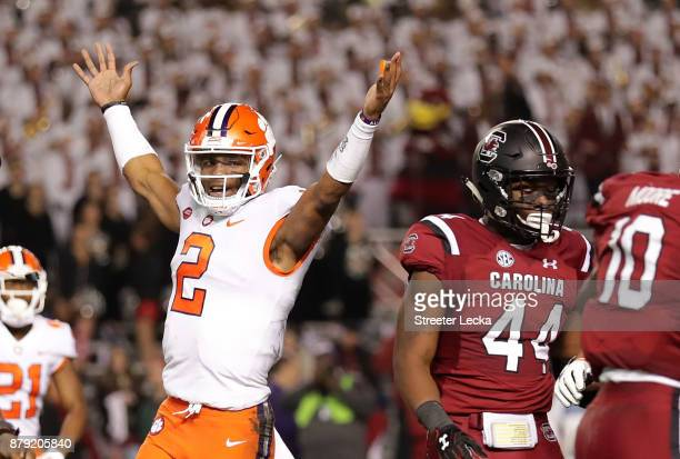 Kelly Bryant of the Clemson Tigers reacts after his team scores a touchdown against the South Carolina Gamecocks during their game at WilliamsBrice...