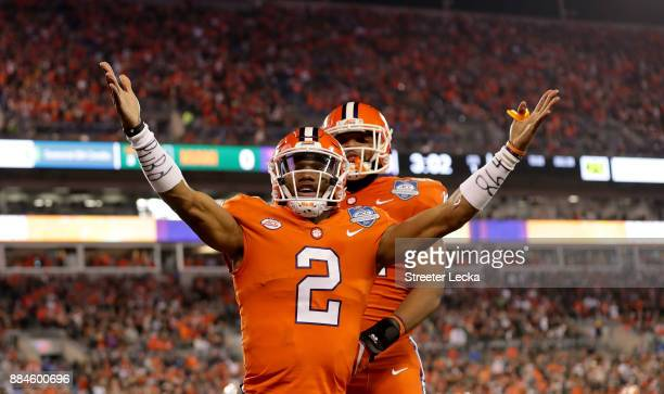 Kelly Bryant of the Clemson Tigers reacts after scoring a touchdown against the Miami Hurricanes in the first quarter during the ACC Football...