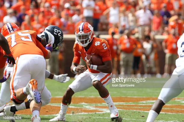 Kelly Bryant quarterback Clemson University Tigers looks to avoid a tackler during action between Georgia Southern and Clemson on September 15 at...