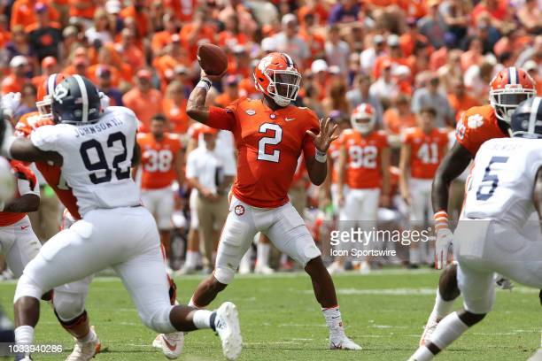 Kelly Bryant quarterback Clemson University Tigers looks to throw a pass during action between Georgia Southern and Clemson on September 15 at...