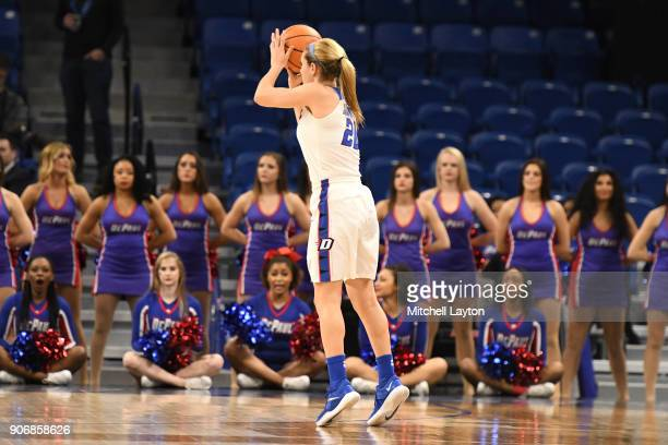 Kelly Campbell of the DePaul Blue Demonss takes a jump shot during a women's college basketball game against the Xavier Musketeers at Wintrust Arena...