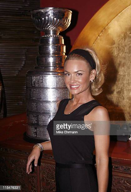 Kelly Carlson with the Stanley Cup during The Stanley Cup at the 2006 Maxim Hot 100 Party at Buddha Bar in New York City New York United States