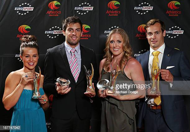 Kelly Cartwright Mitchell Watt Sally Pearson and Evan O'Hanlon with their awards at the 2012 Australian Athlete of the Year Awards at Crown Casino on...