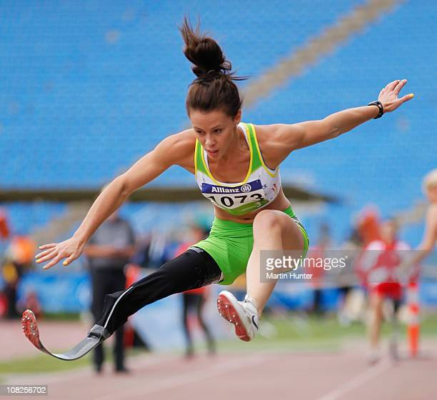 Kelly Cartwright of Australia competes during the Women's Long Jump F42 during the IPC Athletics World Championships at QE II Park on January 23 2011...