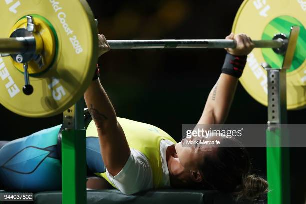 Kelly Cartwright of Australia competes in the Women's Lightweight Final during the Para Powerlifting on day six of the Gold Coast 2018 Commonwealth...