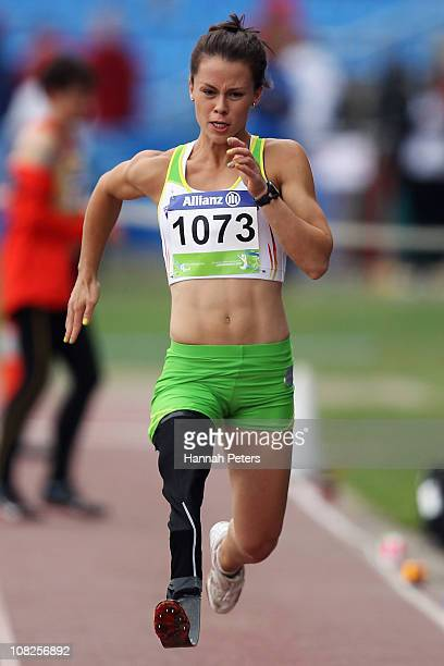Kelly Cartwright of Australia competes in the Women's Long Jump F42 final during day two of the IPC Athletics Championships at QE II Park on January...