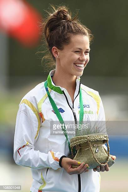 Kelly Cartwright of Australia receives her gold medal after winning the Women's 100m T42 final during day four of the IPC Athletics Championships at...