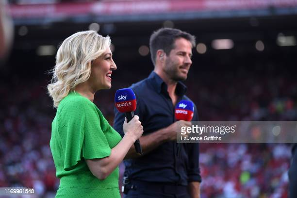 Kelly Cates and Jamie Redknapp present the Premier League match between Liverpool FC and Arsenal FC at Anfield on August 24 2019 in Liverpool United...