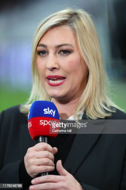 Kelly Cates presenting for Sky Sports during the Premier League match between West Ham United and Crystal Palace at London Stadium on October 05 2019...