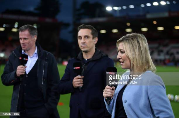Kelly Cates presents for Sky Sports along side Jamie Carragher and Gary Neville before the Premier League match between AFC Bournemouth and Brighton...