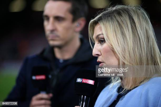 Kelly Cates presents for Sky Sports before the Premier League match between AFC Bournemouth and Brighton and Hove Albion at Vitality Stadium on...